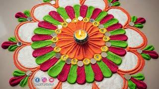 Easy, Simple Attractive rangoli | Everyday Latest Rangoli | Best Rangoli Designs By Sneha J |