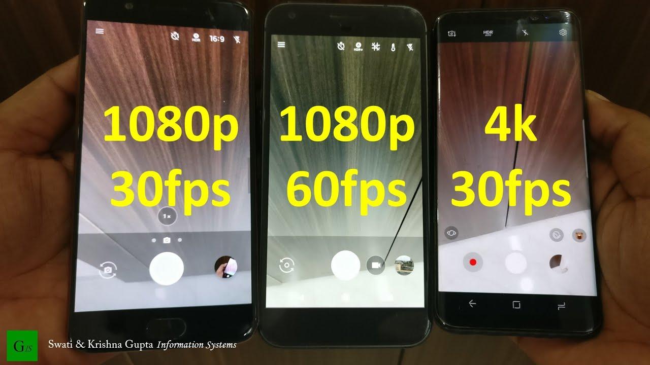 Oneplus 5 vs Galaxy S8 vs Google Pixel (4K 30fps - 1080p 60fps - 1080p  30fps EIS Stabilization Test)