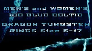 Ice Blue Celtic Dragon Tungsten Rings by Fantasy Forge Jewelry