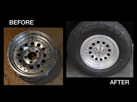 Refinishing and cleaning corroded and oxidized aluminum wheels - Tire dismounting by hand