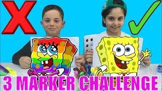 3 MARKER CHALLENGE !! En Güzel Kim Boyayacak ? Sünger Bob ile, with Sponge Bob