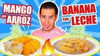 PROBANDO DULCES RAROS DE TAILANDIA !! Sticky Mango Rice, Flan con Arroz.. | HaroldArtist