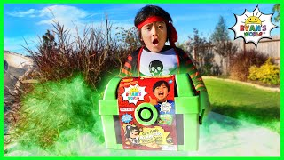 Pirate Ryan Pretend Play Hunt for Glow In The Dark Treasure Chest!!!