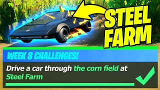 Steel Farm Location & Drive a Car through the Corn Field at Steel Farm (Fortnite Challenges)