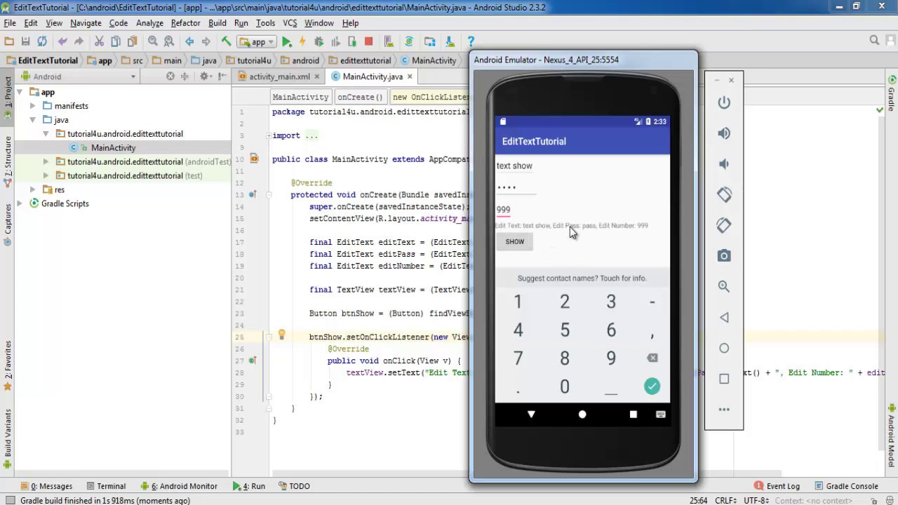Android EditText Control - Android Studio Tutorial for Beginners