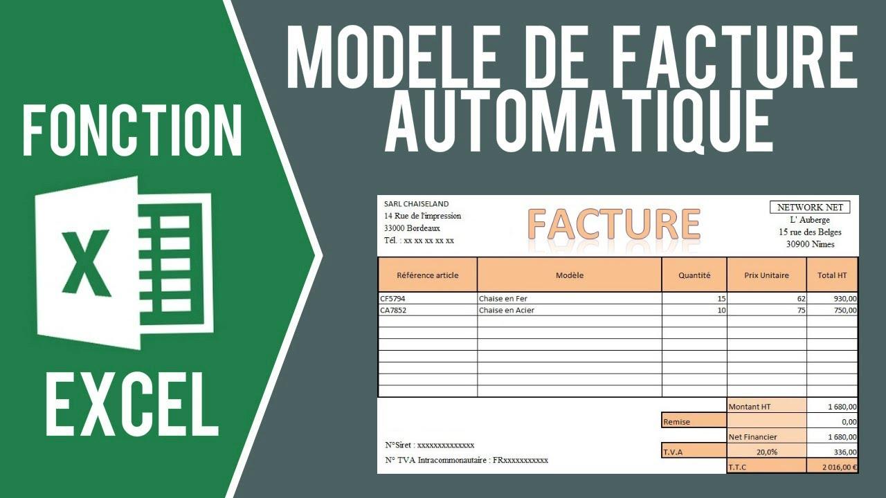 Excel Modele De Facture Avec Saisie Automatique Et Import Des Clients Youtube