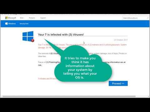 Microsoft Virus Alert Scam Popup Window