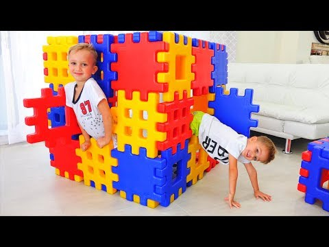 Vlad And Nikita Playing With Toy Blocks Hide And Seek