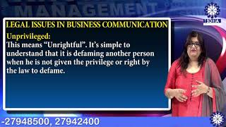 Ethical & Legal Issues In Communication | Ms. Keenika saini(Asst. Prof.)| BBA TIAS on Tecnia TV