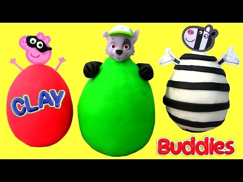 Superhero Peppa Pig SURPRISE Clay Buddies + PAW PATROL Rocky + Zoe Zebra Play Doh Super Héroe