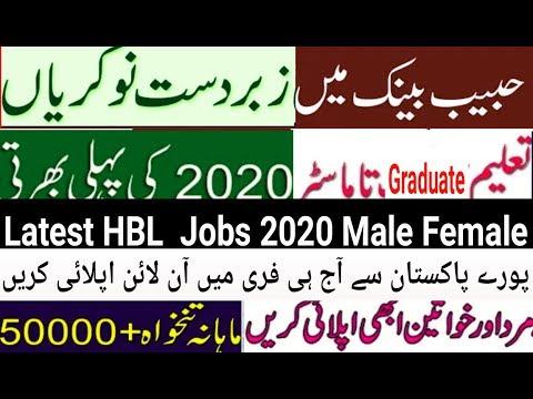 New HBL Bank Jobs In Pakistan 2020 Ll Pakistan Bank Jobs 2020 Male Female