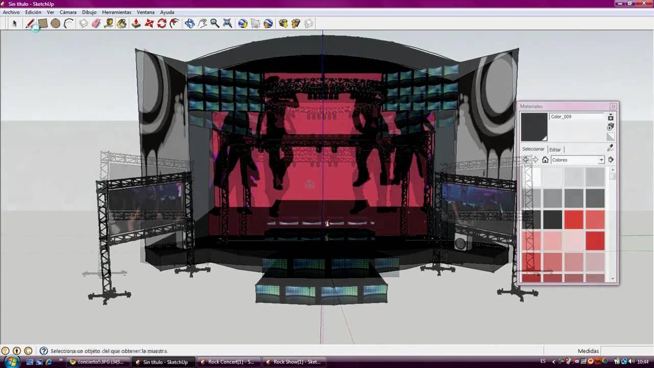 Hacer un escenario muy facil con google sketchup 7 youtube for Programa para dibujar en 3d