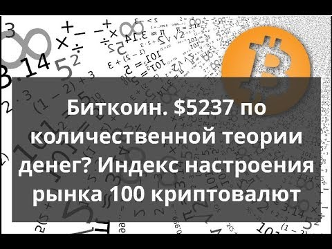 Биткоин. $5237 по количественной теории денег? Индекс настроения рынка 100 криптовалют