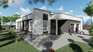 видео Проекты одноэтажных домов с плоской крышей (фото)