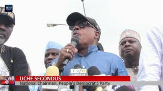 Saraki, Dogara, others lead PDP protest at INEC headquarters over Osun Election