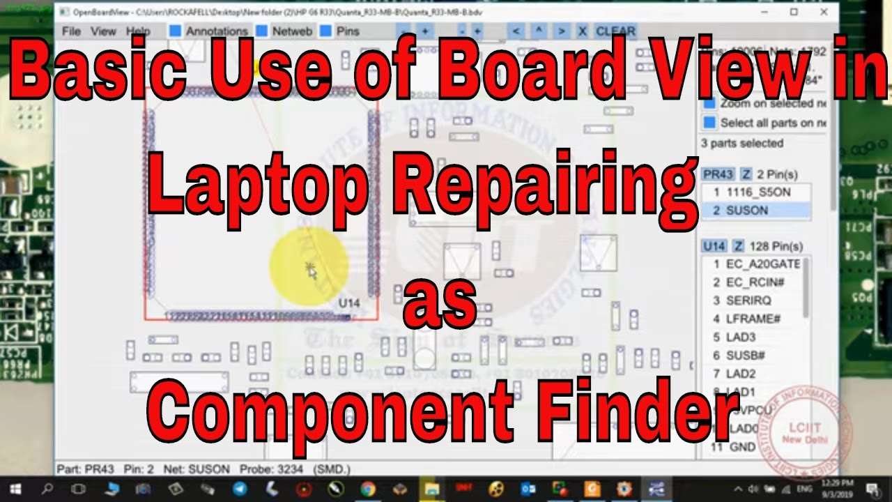 Basic Use of Board view in Laptop Repairing as Component Finder