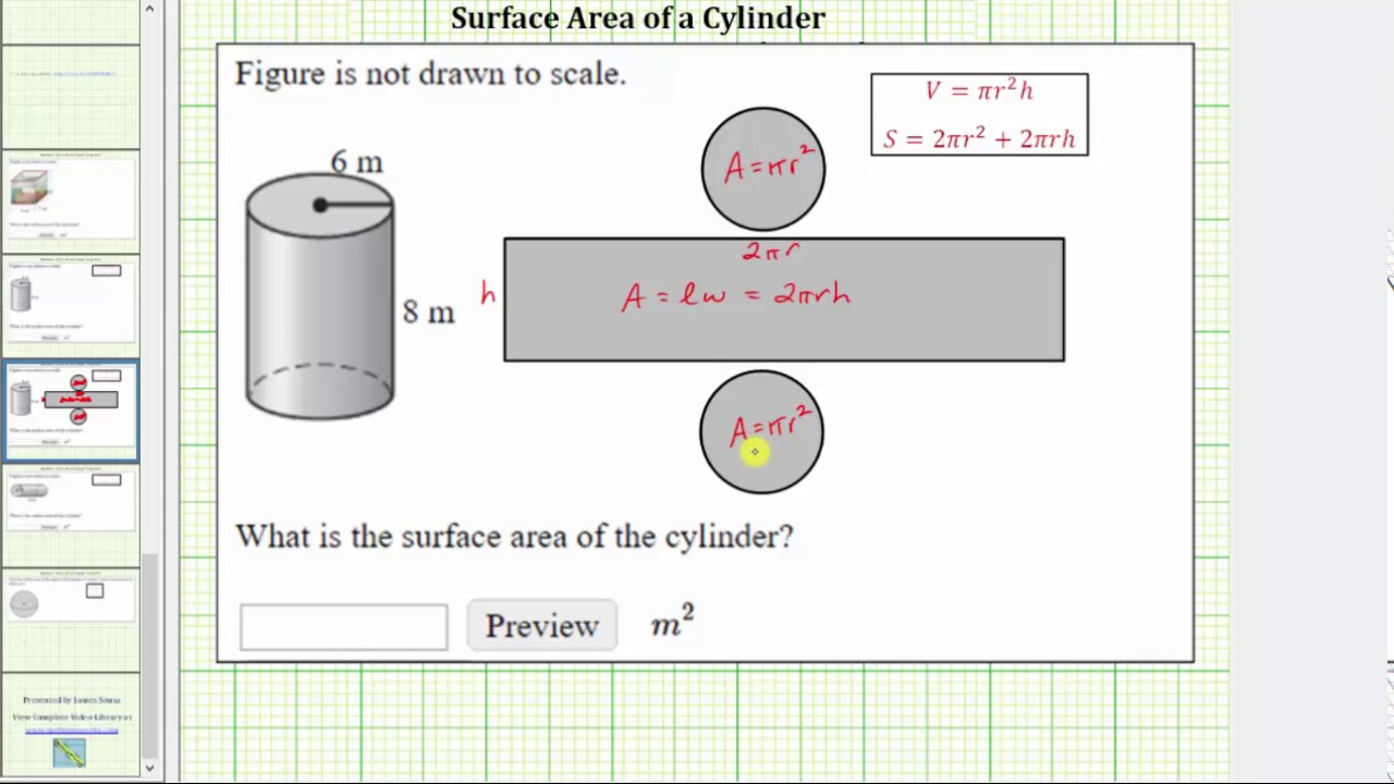surface area of a cylinder How to derive the formula for the surface area of a cylinder the area of each end disk can be found from the radius r of the circle the area of a circle is πr2, so the combined area of the two disks is twice that, or2πr2.