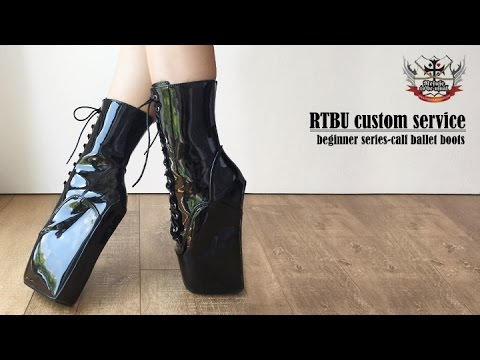 RTBU 18cm Beginner Hoof Sole Heelless Fetish Punk Goth Pinup Ballet Pointe Boots
