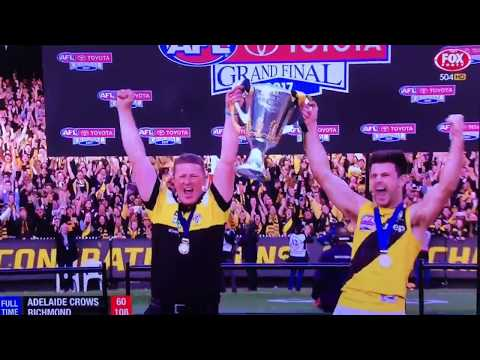 Richmond Tigers celebrating their 2017 AFL Premiership win