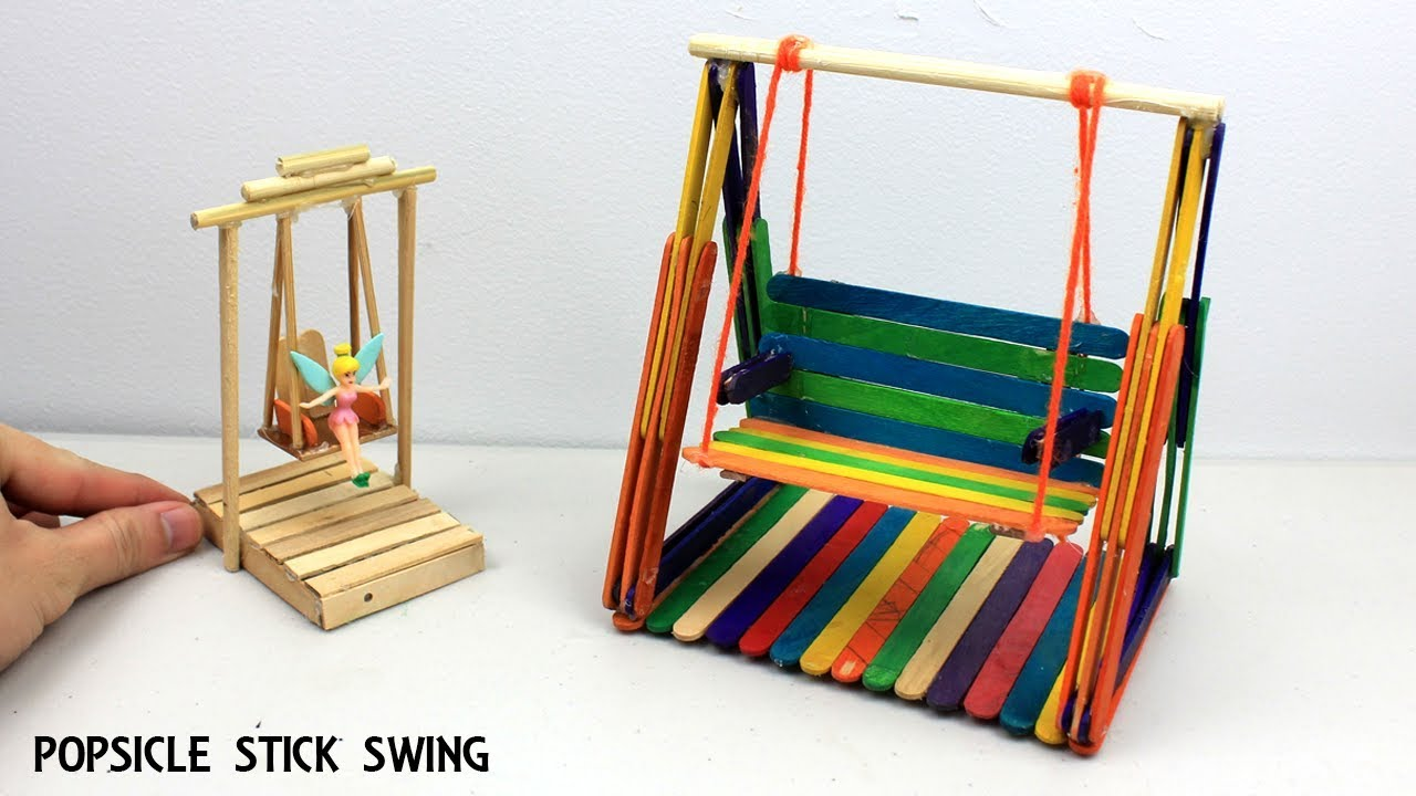 2 Easy Miniature Playground Swings #9   Popsicle Stick Crafts for Kids