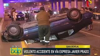 San Borja: conductor salvó de morir tras volcar su vehículo en la Vía Expresa