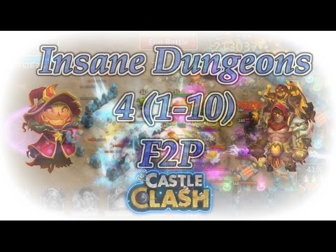 Castle Clash Insane Dungeon 4( 1-10 ) F2P Account