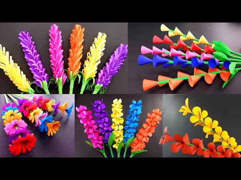 5 Beautiful Paper Sticky Gift Flower   Easy Room Decoration Ideas   Paper craft   Easy DIY Crafts