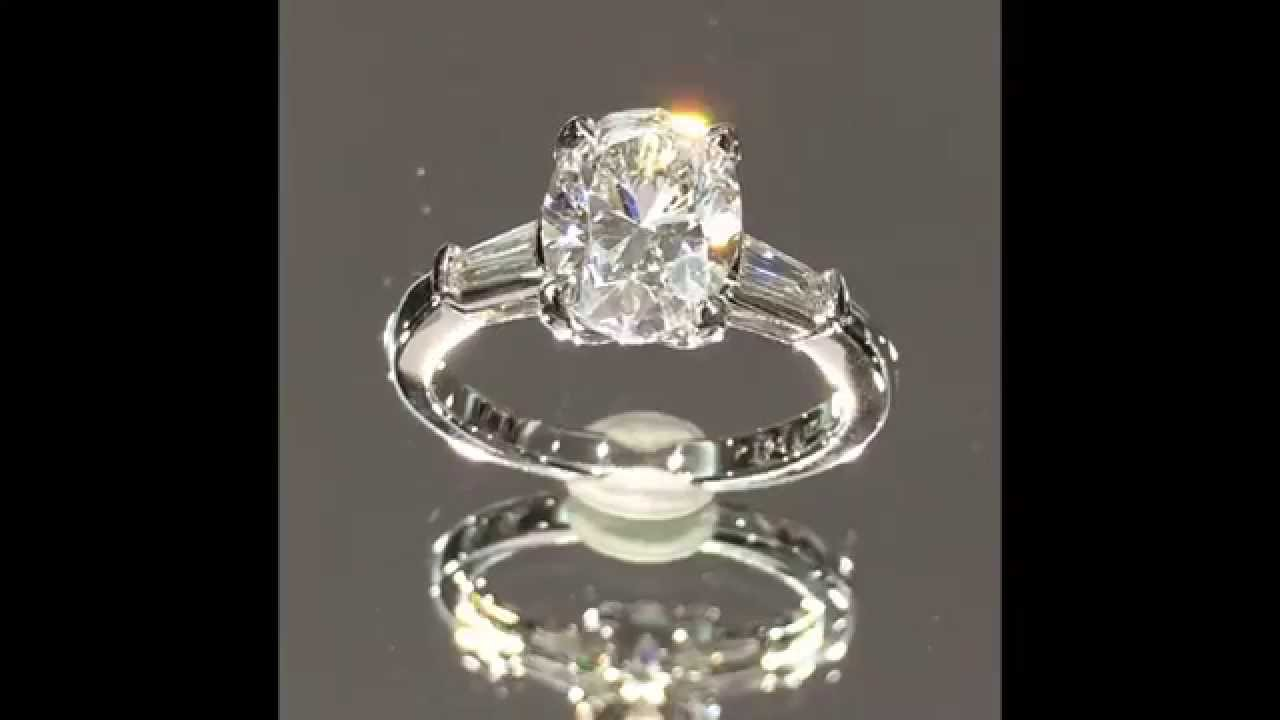 2 Carat Oval Diamond 3 Stone Engagement Ring With