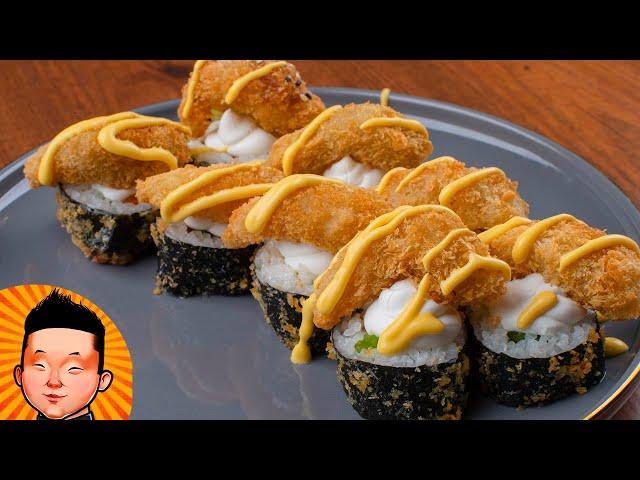 Горячий ролл с креветками попкорн | Sushi receip