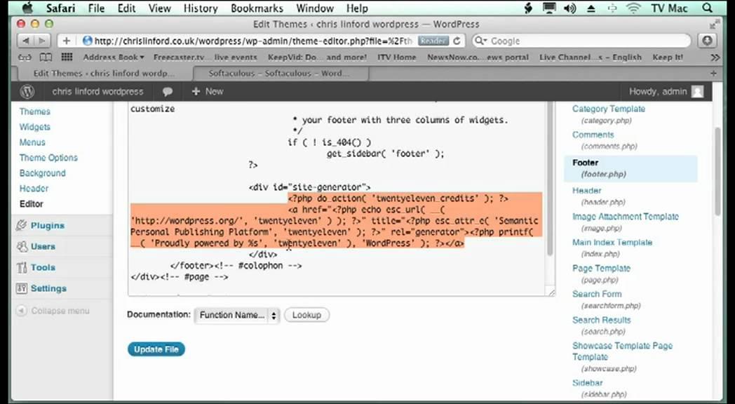 Editing the code to change the basic Wordpress - YouTube
