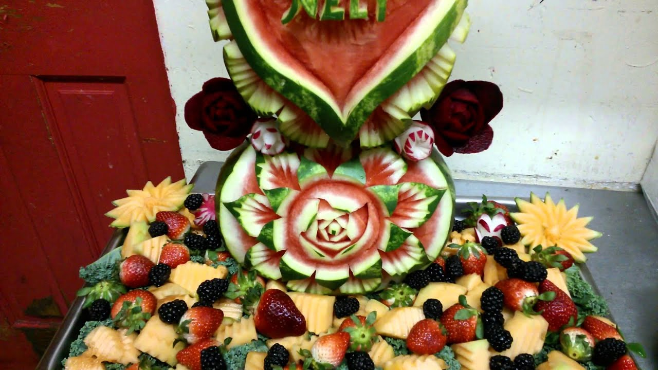 Decoraciones de frutas y vegetales youtube for Secar frutas para decoracion