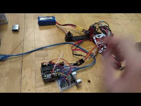 Arduino Uno Bicopter with Reaction Wheel Stabilization Electronics Assembly Demo