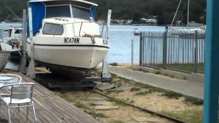 Delta Craft Islander called Coconut goes on the slip. Part 2