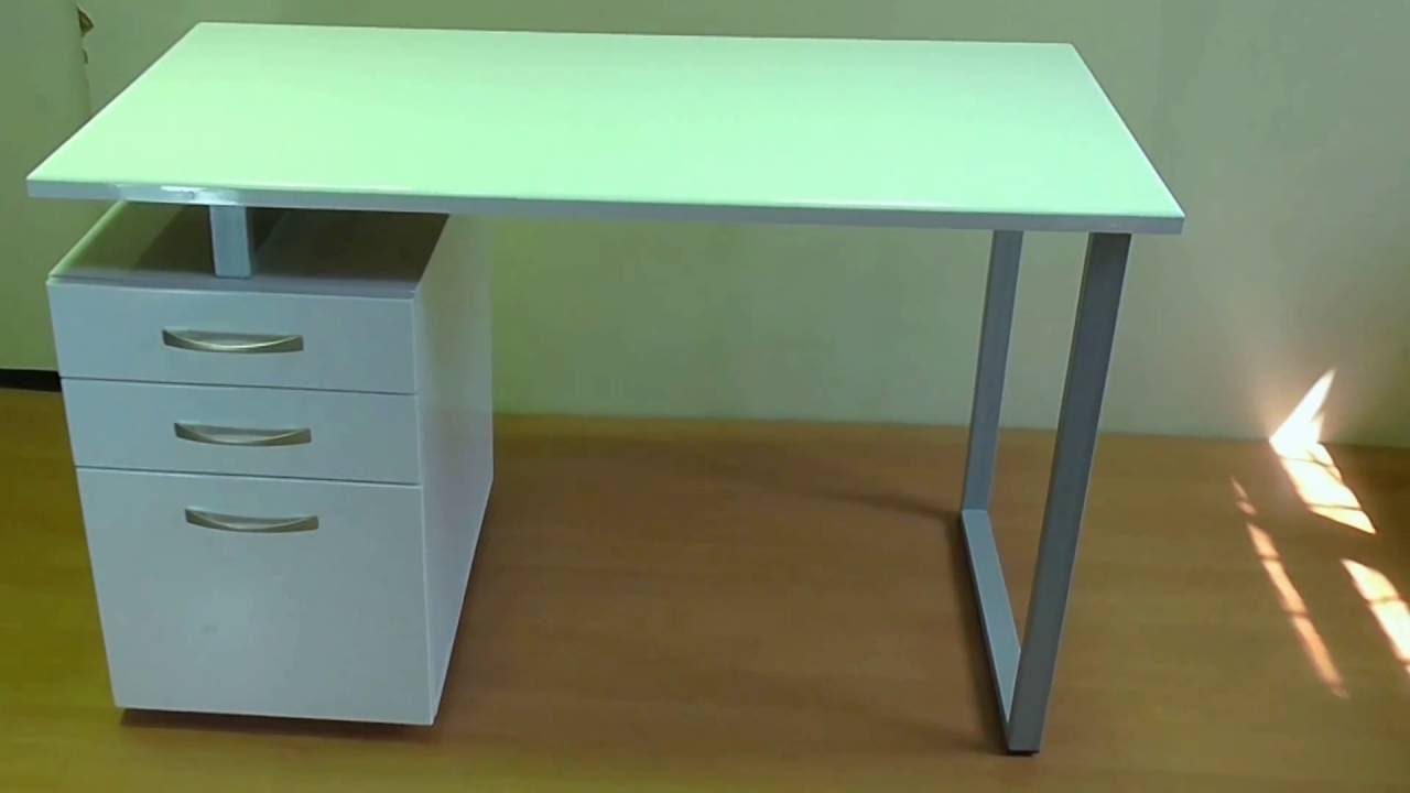Белый глянцевый компьютерный стол - youtube.