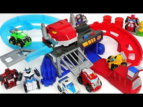Transformers Rescue Bots Flip Racers Chomp and Chase Raceway play with Robocar Poli! #DuDuPopTOY