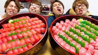 【大食い】マグロ赤身vs大トロどっちの寿司が大食いできるか対決!!