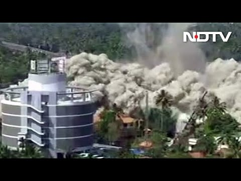 Maradu Flat Demolition: Video Shows Flats Razed With Controlled Explosion In Seconds In Kochi