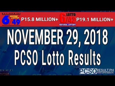 PCSO Lotto Results Today November 29, 2018 (6/49, 6/42, 6D, Swertres, STL & EZ2)