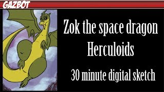 Zok the Space Dragon from the Herculoids 30 minute sketch