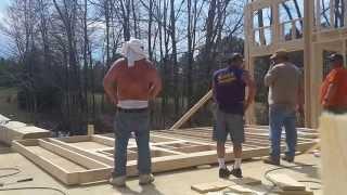 Framing 14' 2 x 6 walls and raising them