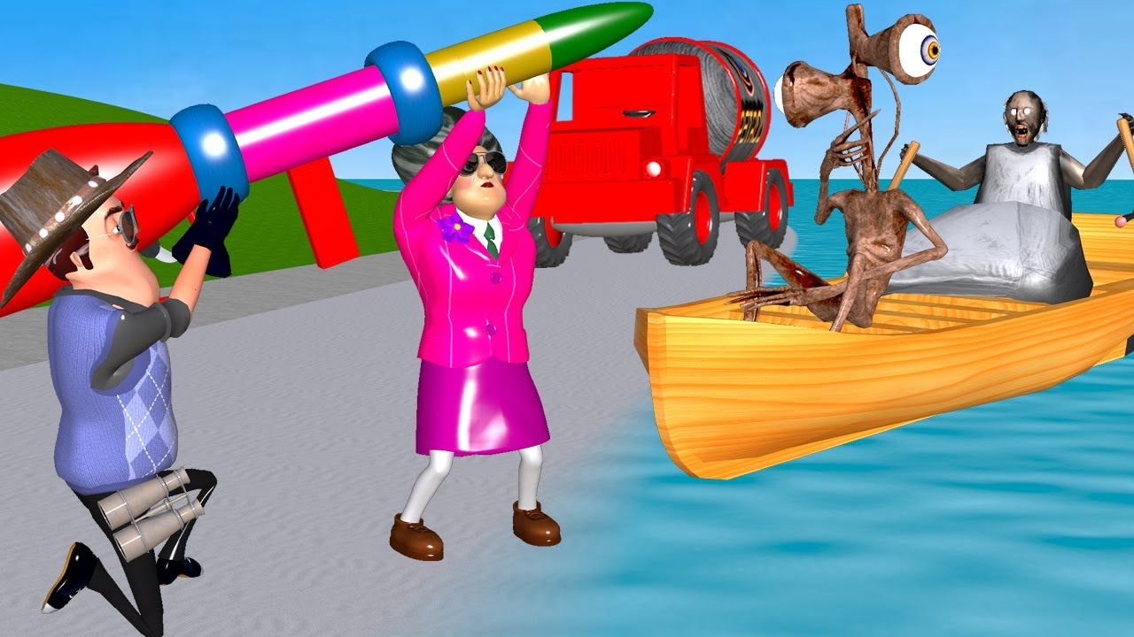 Scary Teacher 3D - Miss T and Hello Neighbor Troll Siren Head and Granny with Rocket on Beach Funny
