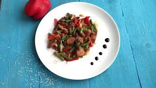 Теплый салат терияки