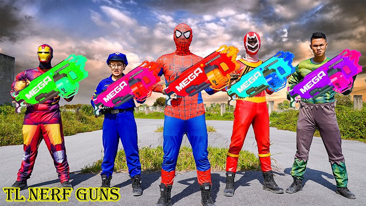 Superhero Nerf War: Squad X Warriors Nerf Guns Fight Criminal Group Attack On Ghost Rescue Police