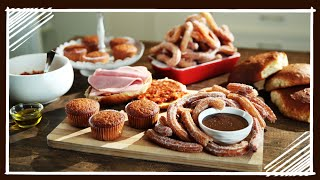 Spanish Breakfast - Churros, Magdalena, Tostadas With Tomato Compote