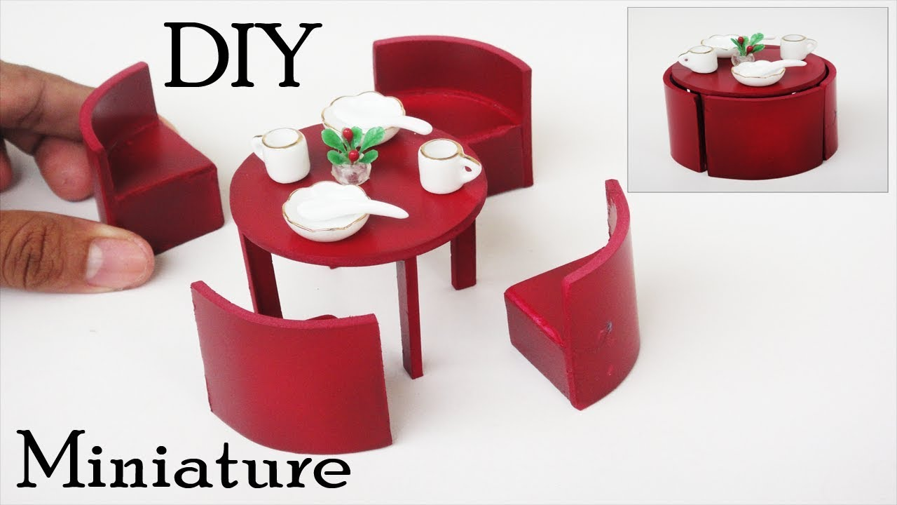 how to build miniature furniture. Dining Table Set | DIY Miniature Furniture Crafts Ideas How To Build