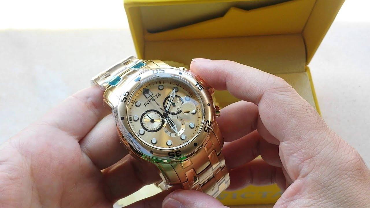 744c83e28d8 Relógio Invicta 0074 pro driver plaque ouro origin - YouTube