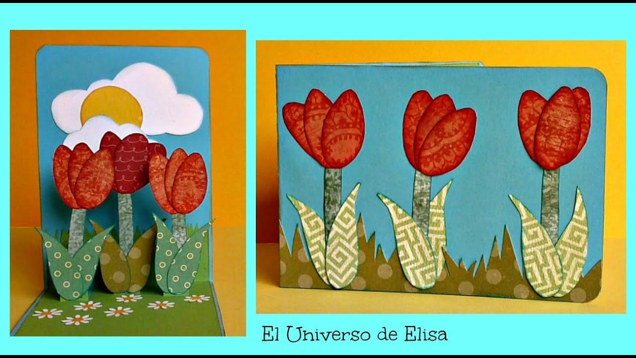 Tarjeta Pop Up Tulipanes Tarjeta para el Da de la Madre Regalos