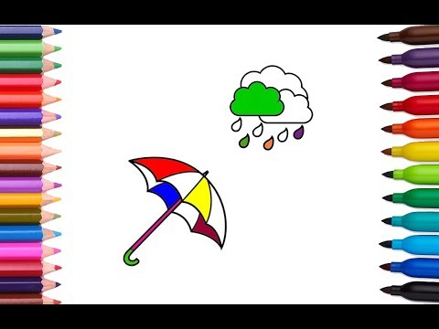 How To Draw And Color Umbrella Cloud And Rain   Learn Colors With Paints For Kids   Coloring Pages