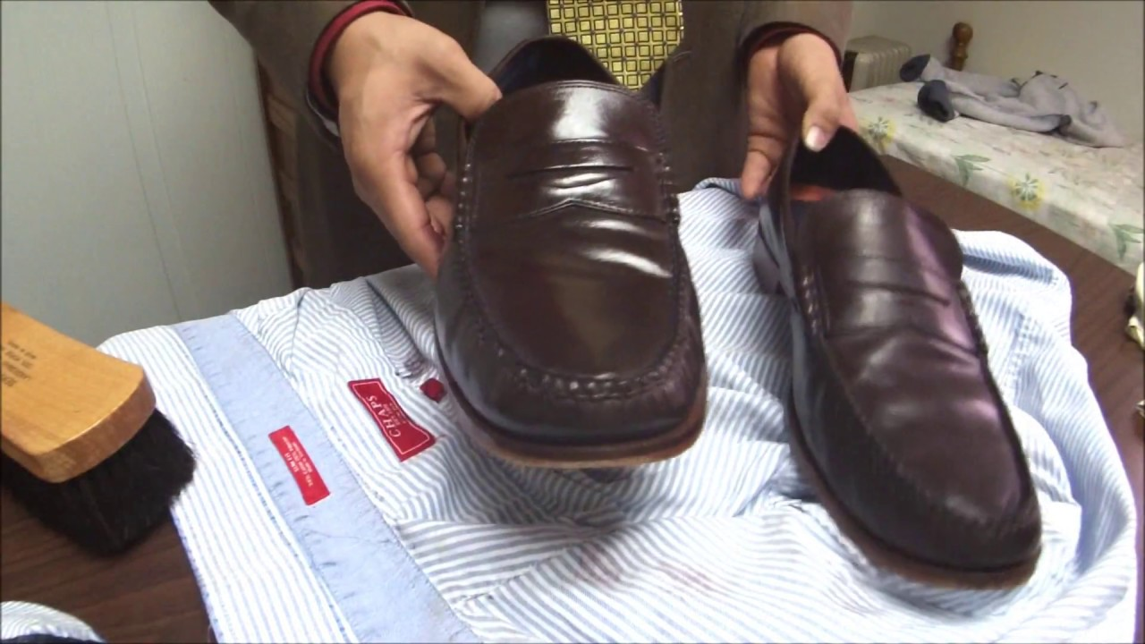 ASMR How I condition and shine a friend's Cole Haan Pinch Moccasin loafers