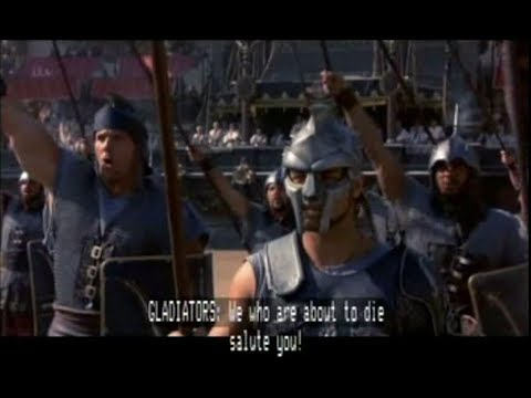 Gladiator  (film, 2000)  Ave, Caesar   Hail, Mighty Caesar   Salut, César